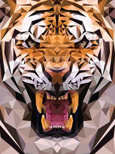 Geometric Tiger Made From Triangles – The Meta Picture #design #geometric #illustration #art #triangles