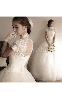 Robe de mariée distinguee naturel modeste de traîne courte trou de serrure