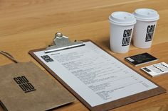 Ground Cafe #branding #shop #simple #cafe #brown #identity #collateral #coffee #cup #clipboard