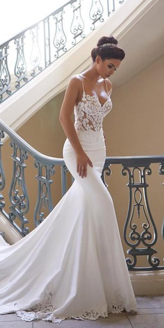 Mermaid wedding dresses are quite popular among brides. This kind of bridal dress draws attention to the bust, waist, and hips.