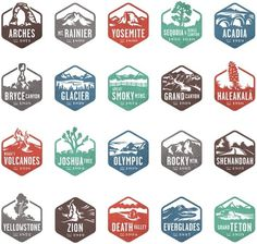 Design Work Life » Valerie Jar: National Park Stamp Icons #graphic design #illustration #logo