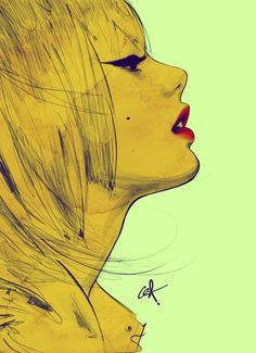 girl lips pretty red sext yellow Favim.com 109032.jpg (600×828) #portrait #yellow #woman #drawn #profile