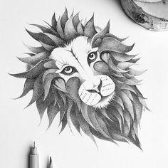 THE LION Artist: Johann Lucchini #lion #illustration #drawing #ink #blackandwhite