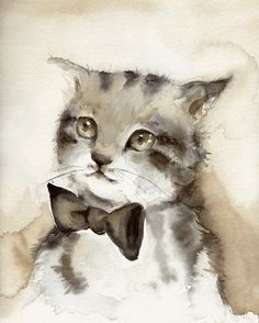 il_fullxfull.198917014.jpg 810×1009 pixels #bowtie #portrait #kitty #painting #watercolor