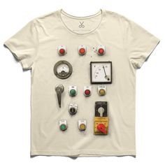 #control panel #beige #tee #tshirt #kerouac #button #switch #controlpanel #electric #indicator