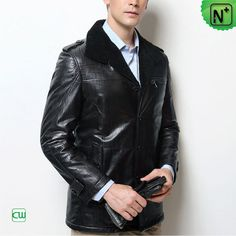 Men's Black Sheepskin Coat CW877365 #sheepskin #coat