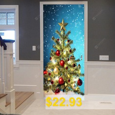 Christmas #Tree #Balls #Pattern #Door #Art #Stickers #- #COLORMIX