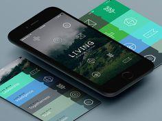 L-I-V-I-N-G app design #logomark #branding #color #icons #texture #clean #iphone #brand #app #identity #logo #life