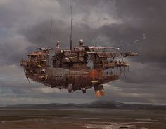 illustration, Ian McQue, sci fi, concept, machines