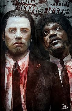 Illustration/Painting/Drawing inspiration #travolta #l #fiction #samuel #jackson #illustration #pulp #tarantino #painting #drawing
