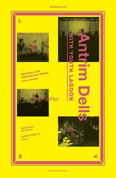 antrimdells.com #typeography #poster #helvetica #concert #neon