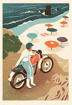 Illustration by Owen Gatley #gatley #person #illustration #beach #owen #motorcycle