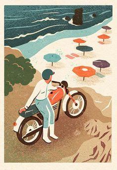 Illustration by Owen Gatley #gatley #person #illustration #beach #owen #motorcycle