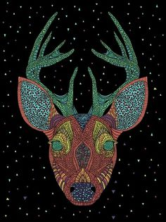 Intergalactic Animals on the Behance Network #deer #illustration #face #poster