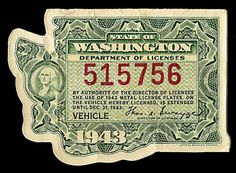 State of Washington Vehicle License | Sheaff : ephemera #washington #die #cut #license
