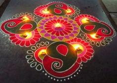 Diwali Diya Rangoli Pattern
