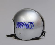 Strawberry Militia | In Full Effect #lettering #ticker #helmet #blue #sticker #hand #grey