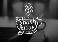 Thank you typography #coffee cup #typography #hand lettering #bratus #vietnam #vintage #logos #logotype #symbol #identity