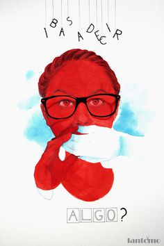 Design You Trust #illustration #white #blue #red #glasses #hand #painting #face #watercolor