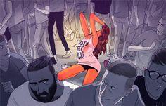 JEROME MIREAULT / colagene.com #woman #dance #top #hair #illustration #bar #men #skin #love #short