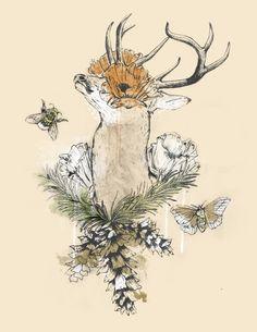 """Nostalgia"" #deer #moth #illustration #flower"