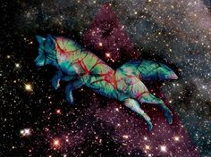 Lou Madhu #abstract #fox #starts #space #digital #art #surreal #collage #cosmic