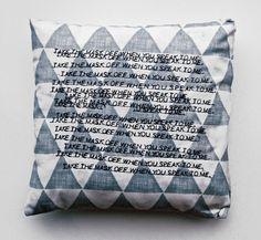 Masked by Sarah Gardner #fabric #str #design #pillow #art #3d #sewing