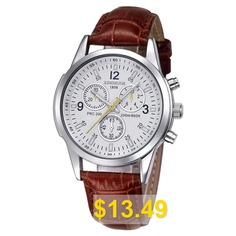 KINGNOUS #1857 #Ultra-thin #Three-eye #Six-needle #Leather #Belt #Waterproof #Watch #- #SILVER