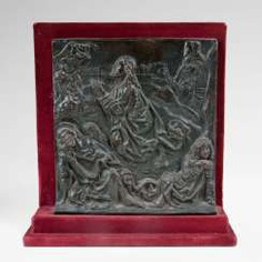 Late Gothic Bronze Relief of 'Christ on the mount of Olives'.