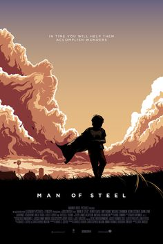 Here´s my illustrated poster for Man of Steel. Take a closer look at the clouds and you might see something more