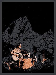 Black Rock #western #campfire #night #illustration #mountains