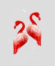 Flamingo Couple Art Print #artprint #poster #wallart #illustration