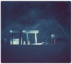 illustration, style, dark, rain