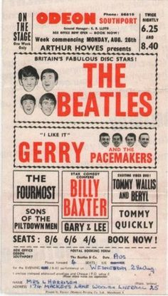 Songkick · 1963 Beatles concert ad, with postal ticket... #beatles #old #the #poster #music