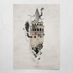 #galata - ghetto #beige #poster #wallart #galata #tower #istanbul #ghetto #aerial #chimney #wheel