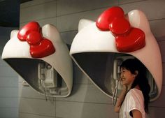 Hello Kitty creative phone booths #phone #public #booth #art #street #exterior #telephone
