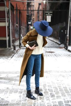 Likes | Tumblr #brown #hat #coat #fashion #blue #jeans