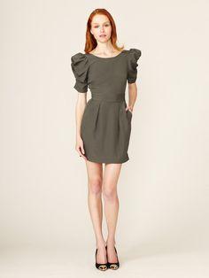 BCBGeneration Ruched Sleeve Low Back Dress #fashion #puff #dress #sleeve