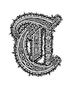 Letter T by Zach Johnson - Pen & Ink