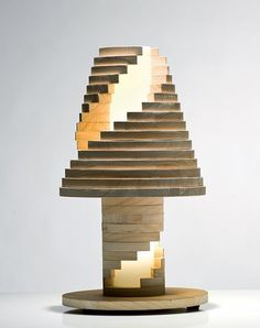 Fantasia Babele Wooden Lamp. Negative space defined by geometric edges.