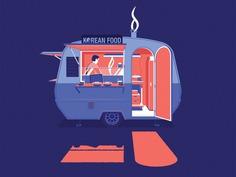 Korean Foodtruck korean night truck illustration amsterdam korea seoul food