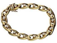 Bracelet: heavy and solid, very high quality crafted vintage wrought gold bracelet with brilliant trim, approx. of 1.4 ct
