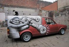 Black and white street art on car