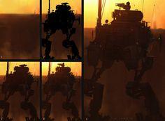 Art of STEVE JUNG: Sunset Mech Process #mill-tech #mecha