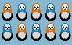 skulldolls wallpaper 03 #skull #wallpaper #pattern #russian