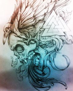 ARTE0.5 #wings #skull #crow #valknut