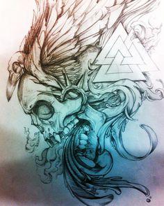 ARTE0.5 #wings #skull #crow #valknut