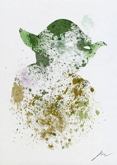 Star Wars paint splatter: Yoda Art Print #illustration #society #6