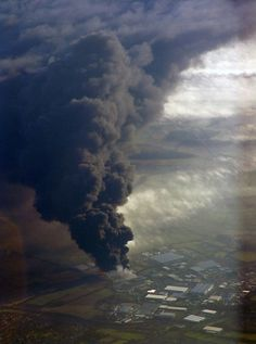 100 Incredible Views Out Of Airplane Windows #airplane #smoke #black #explosion #fuel depot