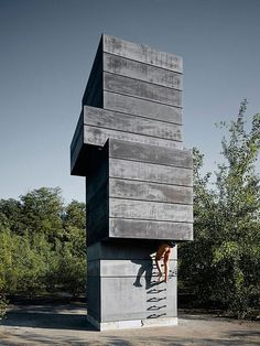 Not your grandpa's sauna. The One Man Sauna stands on an abandoned factory site in Bochum, Germany. The Modulorbeat design is a stacked to #monolithic #concrete #architecture #sauna #outdoor